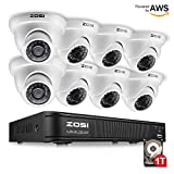 ZOSI 8-Channel 720P HD-TVI Home Surveillance Camera System,1080N CCTV DVR Recorder (1TB Hard Disk Built-in) and (8) 1.0MP 1280TVL Outdoor/Indoor Security Cameras with Night Vision LEDs