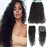 Brazilian Water Wave Virgin Hair 3 Bundles with Free Part Closure Natural Black(20 22 24+18, Natural Color)