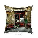 VROSELV Custom Cotton Linen Pillowcase Italian Restaurant - Fabric Home Decor 28''x28''