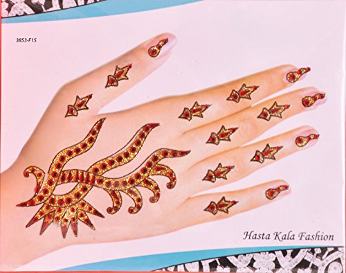 Golden Wedding Bridal Henna Mhendi Temporary Tattoos (Henna Earth Tattoo)