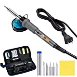PICTEK Soldering Iron Kit, Solder Iron with LED Indicator and Switch for Safe Use, Electronic Welding Kit with 5pcs Iron Tips, Soldering Stand, Solder Wire, Cleaning Sponge and Carrying Case, 60W 110V