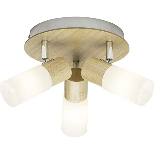 Brilliant 51434/50 babsan plafón con 3 luces, Metal/Madera/Plástico, E14, 3.5 W, madera claro/blanco
