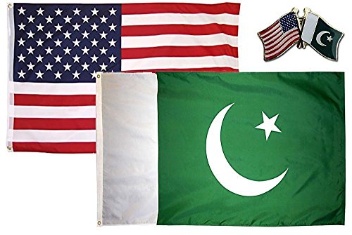 K's Novelties 2 Flag Set with Pin USA & Pakistan Country 2x3