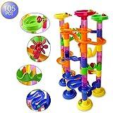 Megadream 105 pcs Kids Building Blocks Construction Toy - 75 Building Blocks + 30 Plastic Race Marbles, DIY Constructing Maze Toy for Family Kids Chrismas GIft