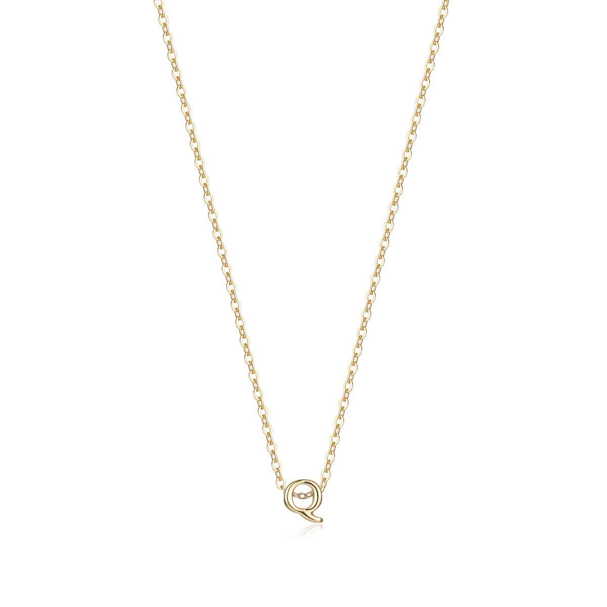 Petite Initial Necklace, Letter Q Necklace 14K Gold
