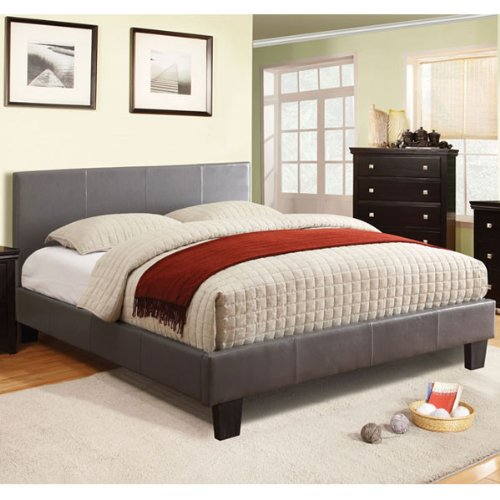 247SHOPATHOME Idf-7008GY-F Platform-Beds, Full, Gray (Full Size Set Footboard)