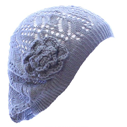 Knit Beanie Flower (Accessory Necessary AN- Womens Fashion Lightweight Cutout Crochet Knit Beret Beanie Hat w/Flower, Various Patterns (Dark Gray Leafy))