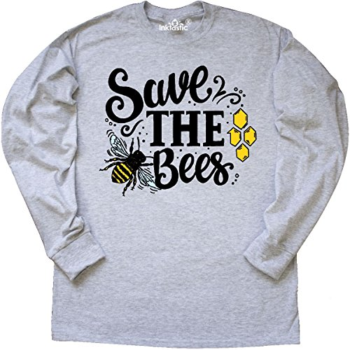 Inktastic - Save The Bees with Bee Long Sleeve T-Shirt X-Large Ash Grey Bee Long Sleeve T-shirt