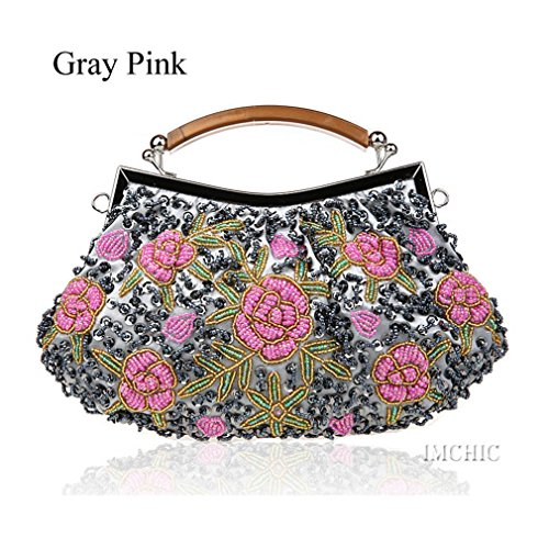 ZJ Flower Bag Vintage Embroidery Gray Clutch Women Sequins Evening Beaded Handbags Party amp;OS Pink rwgTqX0r