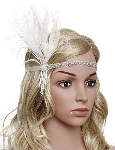 [BABEYOND Women's Roaring 1920s Gatsby Headpiece Flapper Headband with Bow and Tassel (Off White)] (Flappers 1920)