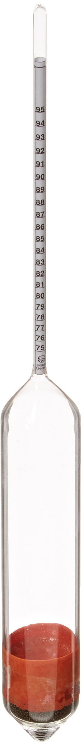 Thermco GW2605 IRS Specifications Proof Scale Plain Form Alcohol Hydrometer, 75 to 95% Proof Range, 0.2% Subdivision, K IRS Size, 305mm Length by THERMCO