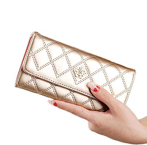 [CaserBay] Fashion Women's Elegant Lady Rhombus Quilted Crown Clutch Long Synthetic Leather Wallet Card Purse (Champagne) (Leather Wallet Synthetic Clutch)