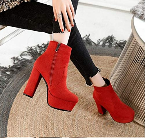 Heel Wilde HCBYJ High Plateau Stiefel Damen Heels Winter High Reißverschluss Damenschuhe warme Seite Mode Wasserdichte Leder 1qBwTqY6Ur