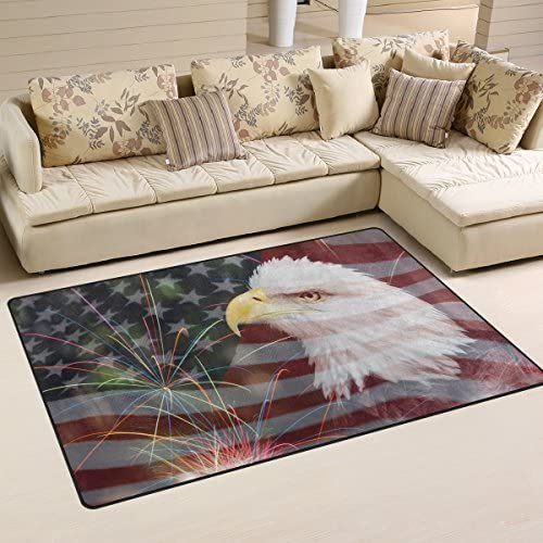 WOZO Fireworks Bald Eagle American Flag 4th July Independence Day Area Rug Rugs Non-Slip Floor Mat Doormat