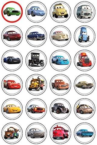 24 x 3,8 cm Cars 3 essbare Cupcake-Dekoration für Muffins, Kekse