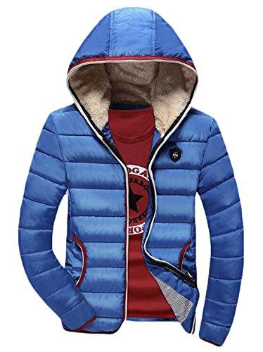 Piumini Maschile Azzurro Pelliccia S Ci Eku Slim Fodera Fit Cappotto Invernale In Cappuccio 0zFvSq