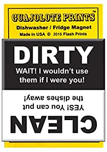 Guajolote Prints Funny Clean & Dirty Dishwasher Sign 2.5 X 2.5 Inches with Magnetic Back