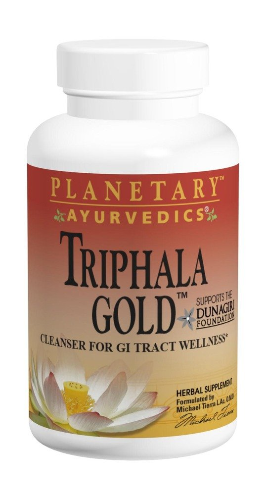 Planetary Herbals Triphala Gold by Planetary Ayurvedics 550mg, Cleanser for GI Tract Wellness, 60 Vegetarian Capsules