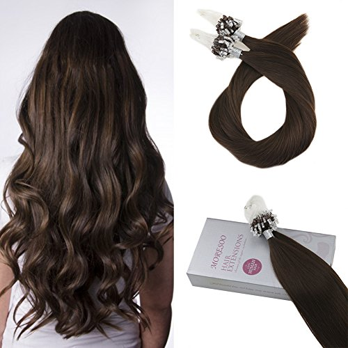Moresoo 16 Inch Loops Micro Rings Beads Tipped Remy Human Hair Extensions Soft Straight 100% Real Human Hair Extensions Brown #4 Human Hair Extensions (Weave Micro Loop Hair)