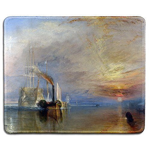 dealzEpic - Art Mousepad - Natural Rubber Mouse Pad with Famous Fine Art Painting of The Fighting TéMéRaire Tugged to Her Last Berth to Be Broken by Turner - Stitched Edges - 9.5x7.9 inches (The Fighting Temeraire Tugged To Her Last Berth)