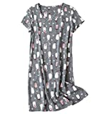 Amoy madrola Women's Cotton Blend Floral Nightgown Casual Nights XTSY108-Penguin-S