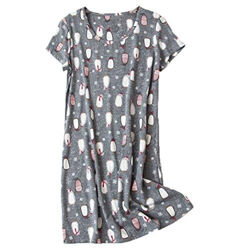 PNAEONG Amoy-Baby Women's Nightgowns Short Sleeves Cotton Sleepwear Print Sleep Shirt XTSY108-Penguin-XL