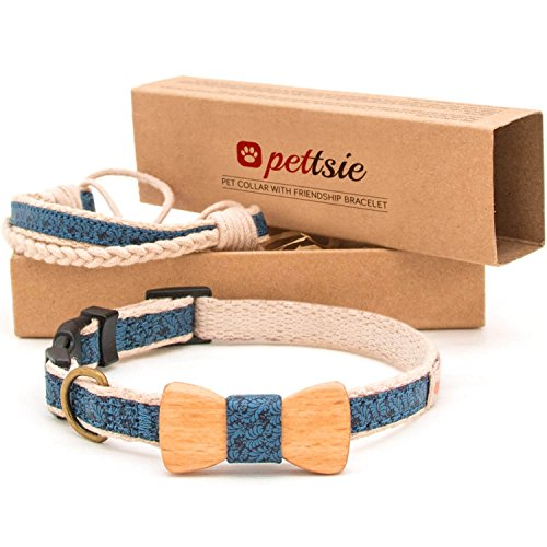 Pettsie Matching Dog Collar Bow Tie & Owner Friendship Bracelet, Durable Hemp for Extra Safety, 3 Easy Adjustable Sizes, Comfortable and Soft, Strong D-Ring for Easy Leash Attachment
