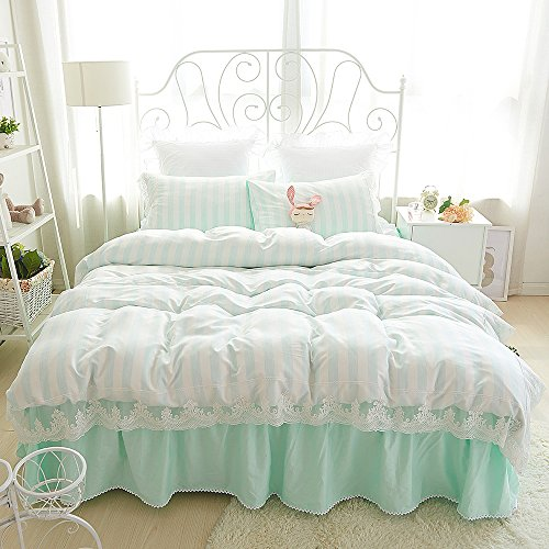 MeMoreCool Well-designed Upgrade Cotton and Tencel Bedding Set,Princess Lace Duver Cover Set,Elegant..Review Specs Price