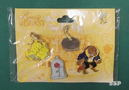 Beauty Pin (Disney Trading Pin DLP Beauty and the Beast Booster 4 Pin Set Belle Rose Beast Babette)