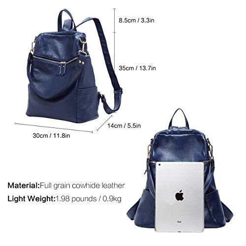 BOYATU Genuine Travel Bag Blue for Fashion Backpack Convertible Leather Purse Women 75vr7qz