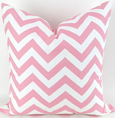 Pink and white chevron Throw Pillow Cover, zig zag Cushion, Accent Pillow, Euro Sham, Cushion Cover - 26