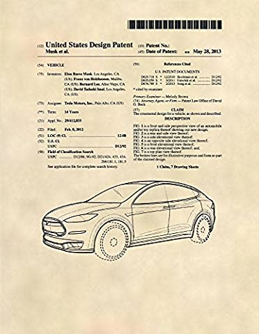 Patent Prints - Tesla Model S Patent Art - Tesla Motors Wall Art Poster (8.5 x 11