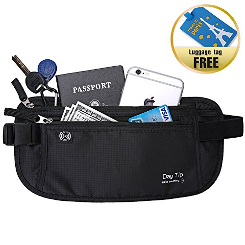 Money Belt - Passport Holder Secure Hidden Travel Wallet with RFID Blocking, Undercover Fanny Pack (Black) (Travel Waist Pack)