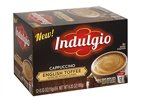 Indulgio English Toffee Cappuccino Single Serve for Keurig K-Cup Brewers, 12 Count (Pack of 6)