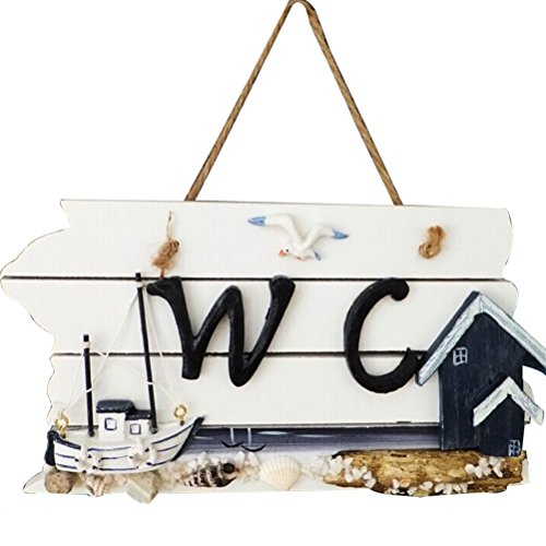 Tinksky-Wall-Hanging-WC-Sign-Wooden-Instruction-Board-Sailing-Ship-Pattern