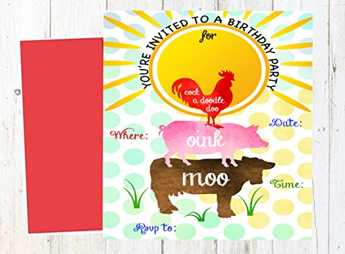 Silly Goose Gifts Farm Watercolor Rooster Pig Cow Barn Themed Party Fill in Invitations 12 Invites with Color Envelopes