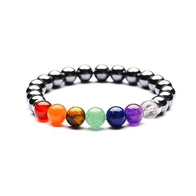 Amazon.com: Xusamss Fashion Yoga Colorful Chakra Bracelet ...