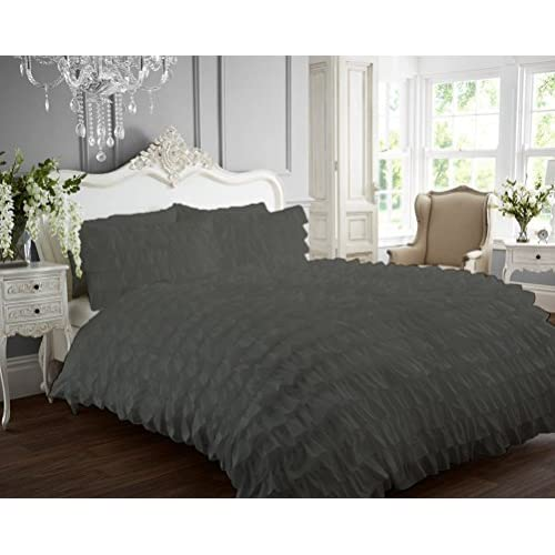 Discount Kotton Culture Ruffle Duvet Cover 100% Egyptian Cotton 400 Thread Count Luxurious (Ruffle Duvet Cover with Zipper Closure) Solid By (Grey, Full) supplier