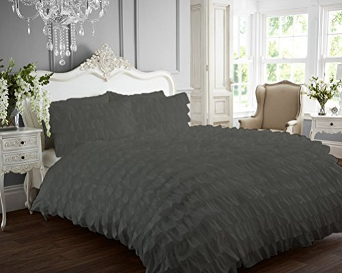 Ruffle Duvet Cover 100% Egyptian Cotton 400 Thread Count Luxurious (Ruffle Duvet Cover with Zipper Closure) Solid By Kotton Culture (Grey, (Dot Embroidered 400 Thread)