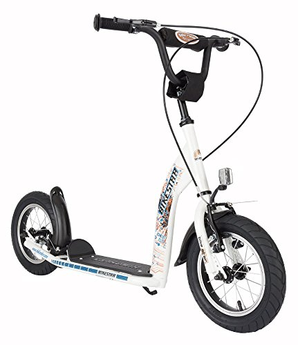 BIKESTAR® Original Safety Pro Sport Push Kick Scooter Kids with brakes, mudguard and air tires for age 7 year old children | Sport Edition with Alloy Wheels 12 Inch | Diamond White