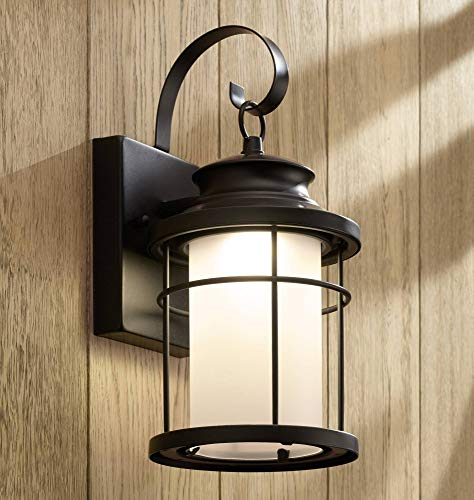 (Warburton Outdoor Wall Light Fixture LED Black Metal Lantern 13