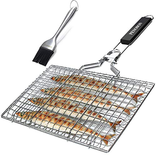 Penobon Fish Grilling Basket, Folding Portable Stainless Steel BBQ Grill Basket for Fish Vegetables Shrimp with Removable Handle, Come with Basting Brush and Storage Bag (Best Veggie Dogs For Grilling)
