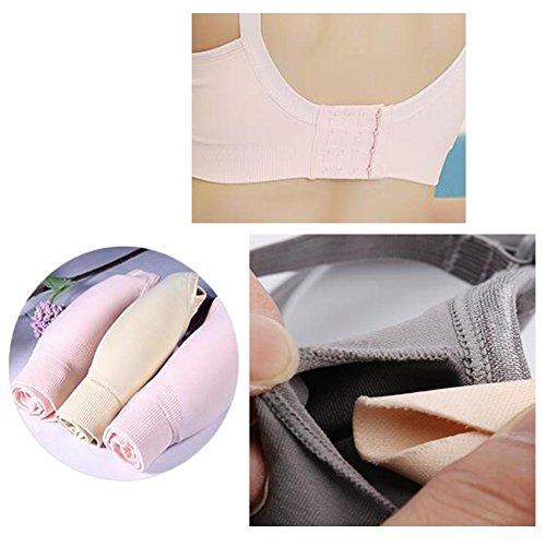 Sujetador ropa interior de las señoras sujetador de la ropa interior de las mujeres embarazadas amamantamiento embarazada no sujetador de la taza llena del anillo de acero 2 pedazos Pink
