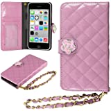 HHI iPhone 5S, 5C & 5 Quilted Purse Wallet Case PINK with Crystal Flower Bling and Hand Strap (Package include a HandHelditems Sketch Stylus Pen)