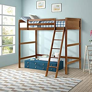 Harper&Bright Designs Panel Style Solid Wood Loft Bed,Side Angled Ladder