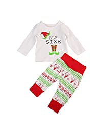Imcute Unisex Baby Christmas Pajama 2Pcs Long Sleeve Tshirt and Pants Sleepwear Set