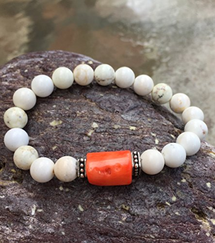 White Howlite Coral Pink Bamboo Bracelet, Orange Coral Stretch Bracelet, Semi-Precious Gemstone Bracelet, Antique Silver Rococo Accents.