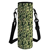 iPrint Water Bottle Sleeve Neoprene Bottle Cover,Camouflage,Army Clothing Motif with Pale Color Splashes Abstract Military Patterned Image Decorative,Green Yellow,Fit for Most of Water Bottles