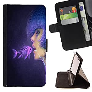 BullDog Case - FOR/LG G3 / - / Fish & Pink Girl /- Monedero de cuero de la PU Llevar cubierta de la caja con el ID Credit Card Slots Flip funda de cuer