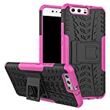 HUAWEI P10 Case , B1ST Military Tires Leather with Kickstand Heavy Duty Cover Impact Resistant Corner Protection Shockproof Anti-fall,Scratch Resistant TPU Soft Cover (Pink)